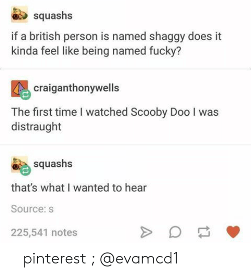 shaggy: squashs  if a british person is named shaggy does it  kinda feel like being named fucky?  craiganthonywells  The first time I watched Scooby Doo I was  distraught  squashs  that's what I wanted to hear  Source:s  225,541 notes 『 pinterest ; @evamcd1 』
