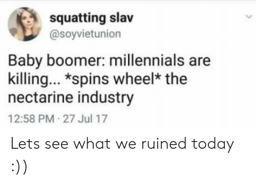Squatting Slav: squatting slav  @soyvietunion  Baby boomer: millennials are  killing. *spins wheel* the  nectarine industry  12:58 PM 27 Jul 17 Lets see what we ruined today :))