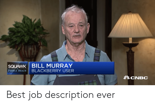 cnbc: SQUAWK BILL MURRAY  PEBBLE BEACH BLACKBERRY USER  CNBC Best job description ever