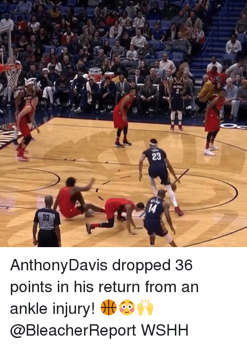 Memes, Wshh, and 🤖: sr  23 AnthonyDavis dropped 36 points in his return from an ankle injury! 🏀😳🙌 @BleacherReport WSHH