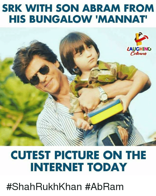 Internet, Today, and Indianpeoplefacebook: SRK WITH SON ABRAM FROM  HIS BUNGALOW 'MANNAT  LAUGHING  Colours  CUTEST PICTURE ON THE  INTERNET TODAY #ShahRukhKhan #AbRam