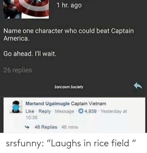 """rice: srsfunny:  """"Laughs in rice field """""""