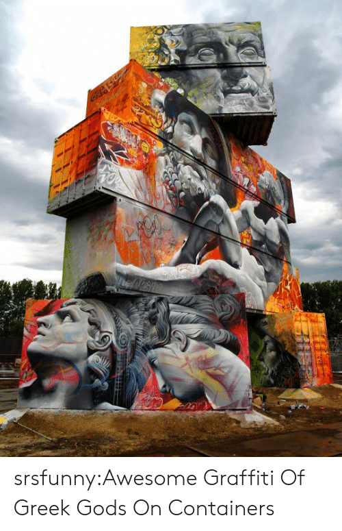 greek gods: srsfunny:Awesome Graffiti Of Greek Gods On Containers