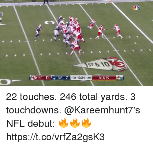 Memes, Nfl, and 🤖: ST &10  ISt 9:24 401  1st &10 22 touches. 246 total yards. 3 touchdowns.  @Kareemhunt7's NFL debut: 🔥🔥🔥 https://t.co/vrfZa2gsK3