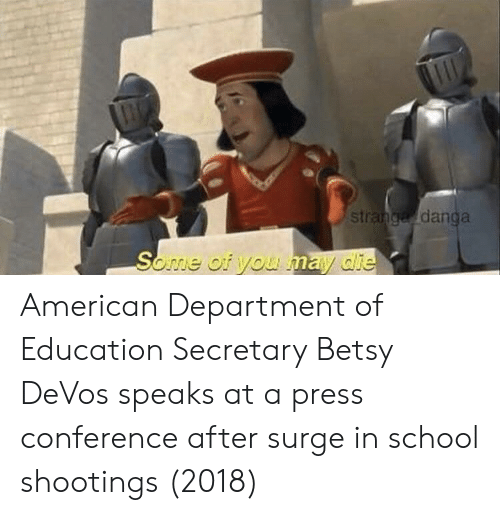 school shootings: st  danga American Department of Education Secretary Betsy DeVos speaks at a press conference after surge in school shootings (2018)