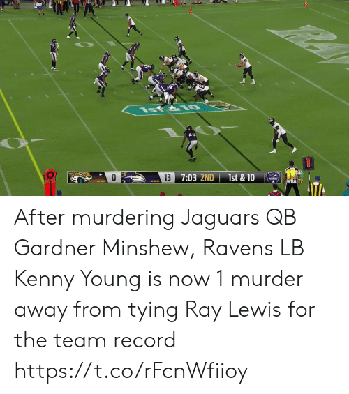 kenny: st&IO  13  7:03 2ND  1st & 10  WBALTV After murdering Jaguars QB Gardner Minshew, Ravens LB Kenny Young is now 1 murder away from tying Ray Lewis for the team record https://t.co/rFcnWfiioy