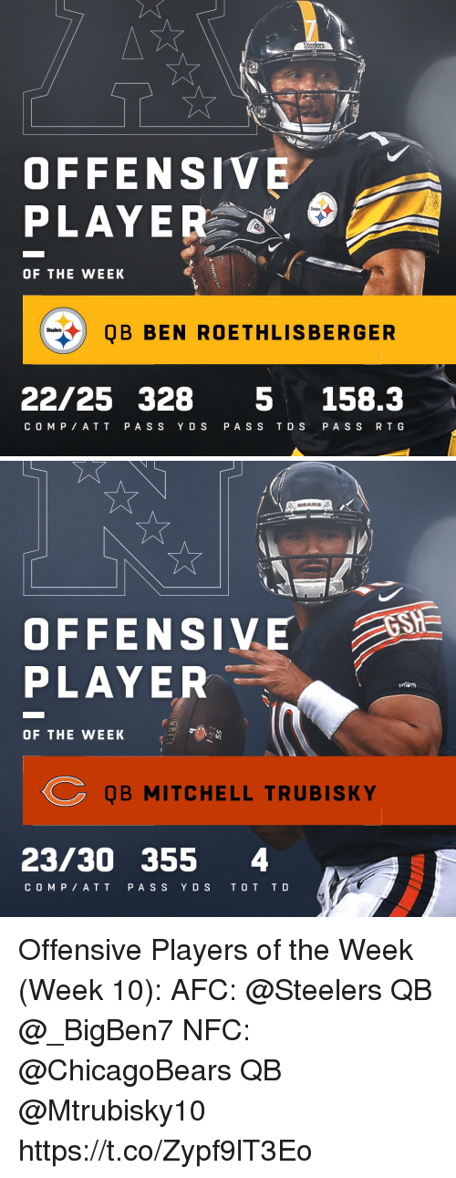 T D: St  OFFENSIVE  PLAYER  OF THE WEEK  QB BEN ROETHLISBERGER  Steelers  22/25 328 5 158.3  C O MP AT T P AS S Y DS PA SS T D S PA S S R T G   OFFENSIVE  PLAYER  OF THE WEEK  QB MITCHELL TRUBISKY  23/30 355 4  C O M P AT T PA S S YDS T O T T D Offensive Players of the Week (Week 10):  AFC: @Steelers QB @_BigBen7 NFC: @ChicagoBears QB @Mtrubisky10 https://t.co/Zypf9lT3Eo
