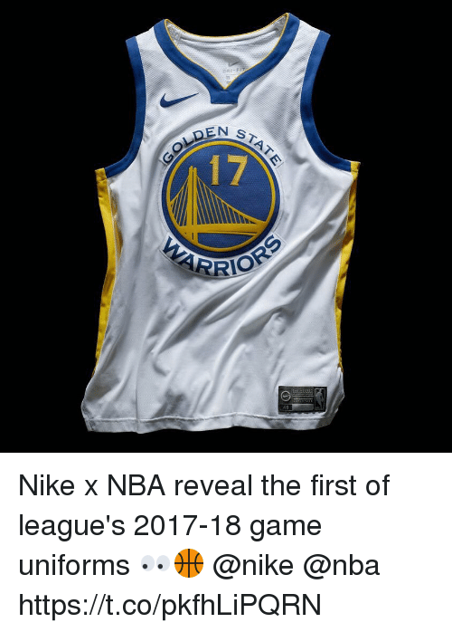 Memes, Nba, and Nike: ST  OLDEN  17  48 Nike x NBA reveal the first of league's 2017-18 game uniforms 👀🏀 @nike @nba https://t.co/pkfhLiPQRN