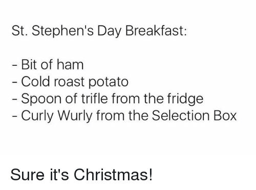 Memes, Roast, and Stephen: St. Stephen's Day Breakfast:  Bit of ham  Cold roast potato  Spoon of trifle from the fridge  Curly Wurly from the Selection Box Sure it's Christmas!