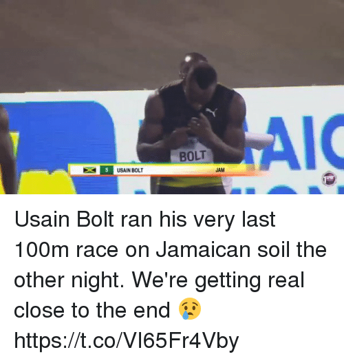 Blackpeopletwitter, Usain Bolt, and Race: ST5 USAIN BOLT  AIC  BOLT  JAM Usain Bolt ran his very last 100m race on Jamaican soil the other night. We're getting real close to the end 😢 https://t.co/VI65Fr4Vby