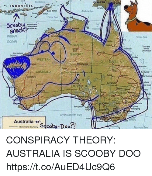 Casted: StA  Cast Tm  or  coobu  Coral Ge  INDIAN  OCEAN  WESTERN  AUSTRALIA  TH  AUSTRALIA  VALD  Australia ar CONSPIRACY THEORY: AUSTRALIA IS SCOOBY DOO https://t.co/AuED4Uc9Q6