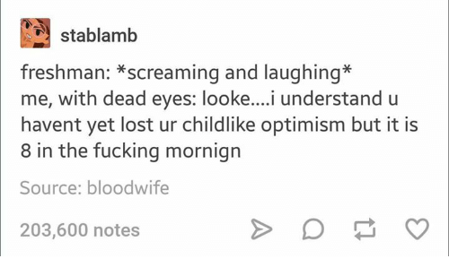 Fucking, Lost, and Humans of Tumblr: stablamb  freshman: *screaming and laughing*  me, with dead eyes: looke....i understand u  havent yet lost ur childlike optimism but it is  8 in the fucking mornign  Source: bloodwife  203,600 notes
