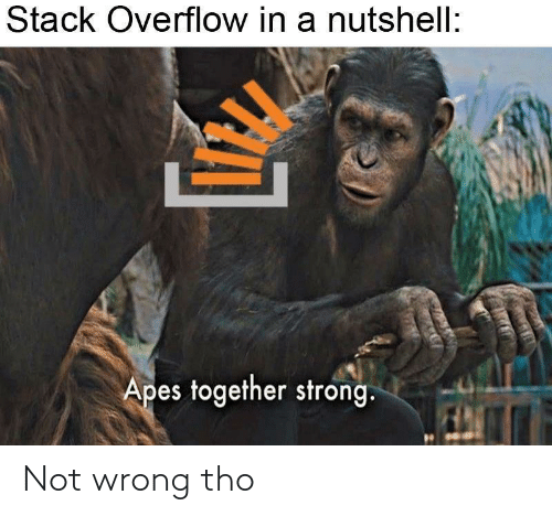 stack: Stack Overflow in a nutshell:  Apes together strong. Not wrong tho