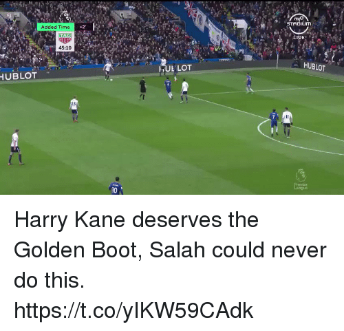 Soccer, Time, and Never: STADIUm  Added Time  45:10  HUBLOT  TUL LOT  UBLOT  23  10 Harry Kane deserves the Golden Boot, Salah could never do this. https://t.co/yIKW59CAdk