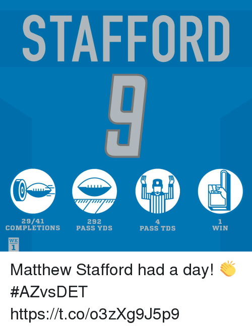 Memes, 🤖, and Matthew Stafford: STAFFORD  mmwm  29/41  COMPLETIONS  292  PASS YDS  4.  PASS TDS  1  WIN  WK  1 Matthew Stafford had a day! 👏 #AZvsDET https://t.co/o3zXg9J5p9