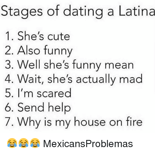 Dating A Latina: Stages of dating a Latina  1. She's cute  2. Also funny  3. Well she's funny mean  4. Wait, she's actually mad  5. I'm scared  6. Send help  7. Why is my house on fire 😂😂😂 MexicansProblemas