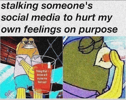 Stalking: stalking someone's  social media to hurt my  own feelings on purpose  Thing that i  know will  make me  feel sad  IT
