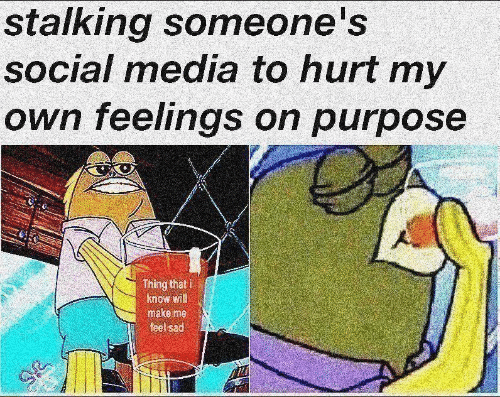 On Purpose: stalking someone's  social media to hurt my  own feelings on purpose  Thing that i  know will  make me  feel sad  IT