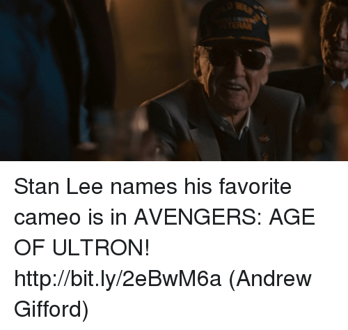 ultron: Stan Lee names his favorite cameo is in AVENGERS: AGE OF ULTRON! http://bit.ly/2eBwM6a  (Andrew Gifford)