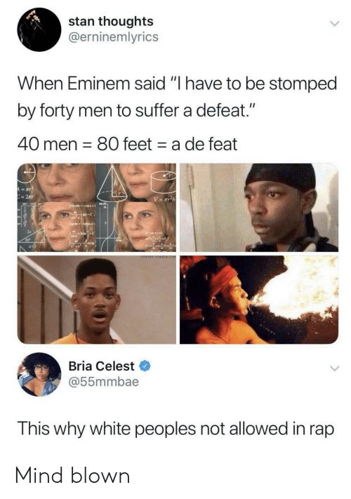"Blown: stan thoughts  @erninemlyrics  When Eminem said ""I have to be stomped  by forty men to suffer a defeat.""  40 men 80 feet a de feat  A=aY  C=2Tr  V= xT2h  Jsimxdcosx+  +C  CO  JgdsIncos+  dIntoC  sin x  30  arcig  OOWEEE TOMBER.COM  Bria Celest  @55mmbae  This why white peoples not allowed in rap Mind blown"
