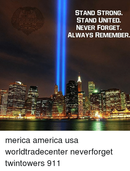 America, Memes, and United: STAND STRONG  STAND UNITED.  NEVER FORGET.  ALWAYS REMEMBER. merica america usa worldtradecenter neverforget twintowers 911