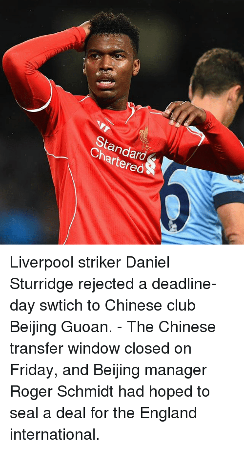 StandardS Chartered Liverpool Striker Daniel Sturridge ...
