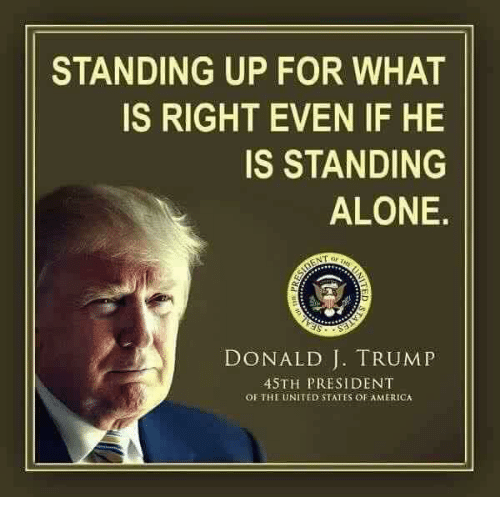 Being Alone, America, and Memes: STANDING UP FOR WHAT  IS RIGHT EVEN IF HE  IS STANDING  ALONE.  DONALD J. TRUMP  4STH PRESIDENT  OF TH UNITED STATES OF AMERICA