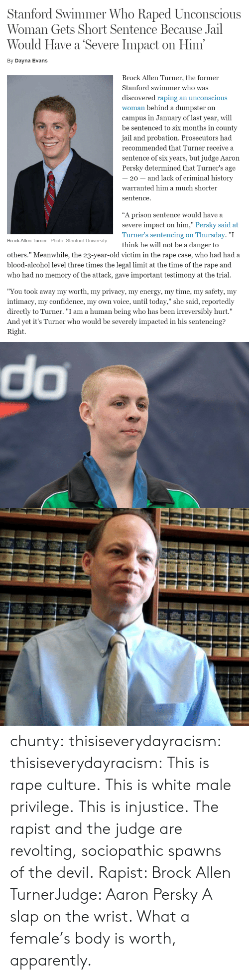 "Turners: Stanford Swimmer Who Raped Unconscious  Woman Gets Short Sentence Because Jail  Would Have a Severe Impact on Him  By Dayna Evans  Brock Allen Turner, the former  Stanford swimmer who was  discovered raping an unconscious  woman behind a dumpster on  campus in January of last year, will  be sentenced to six months in county  jail and probation. Prosecutors had  recommended that Turner receive a  sentence of six years, but judge Aaron  Persky determined that Turner's age  20 - and lack of criminal history  warranted him a much shorter  sentence.  ""A prison sentence would have a  severe impact on him,"" Persky said at  Turner's sentencing on Thursday. ""I  think he will not be a danger to  Brock Allen Turner. Photo: Stanford University  others."" Meanwhile, the 23-year-old victim in the rape case, who had had a  blood-alcohol level three times the legal limit at the time of the rape and  who had no memory of the attack, gave important testimony at the trial.  ""You took away my worth, my privacv, my energv, my time, my safetv, my  intimacy, my confidence, my own voice, until today,"" she said, reportedly  directly to Turner. ""I am a human being who has been irreversibly hurt.""  And yet it's Turner who would be severely impacted in his sentencing?  Right.   do chunty:  thisiseverydayracism:  thisiseverydayracism:  This is rape culture.  This is white male privilege.  This is injustice.  The rapist and the judge are revolting, sociopathic spawns of the devil.  Rapist: Brock Allen TurnerJudge: Aaron Persky  A slap on the wrist. What a female's body is worth, apparently."