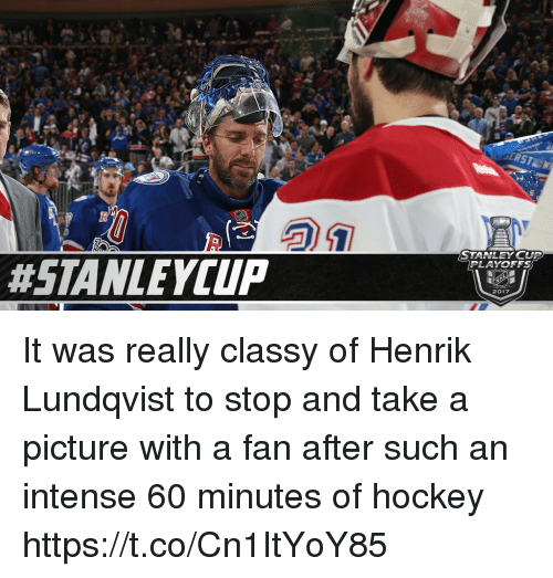stanley cup playoffs: STANLEY CUP  PLAYOFFS  2017 It was really classy of Henrik Lundqvist to stop and take a picture with a fan after such an intense 60 minutes of hockey https://t.co/Cn1ItYoY85