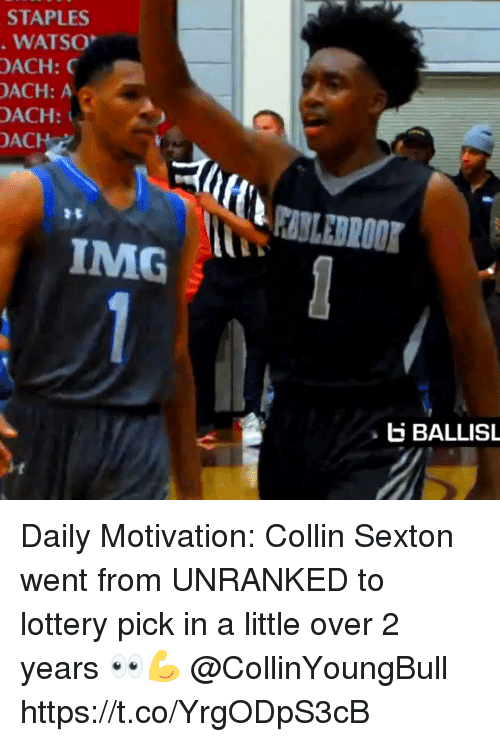 Staples: STAPLES  WATSO  OACH:  ACH: A  OACH:  ACH  IMG  E BALLISL Daily Motivation: Collin Sexton went from UNRANKED to lottery pick in a little over 2 years 👀💪 @CollinYoungBull https://t.co/YrgODpS3cB