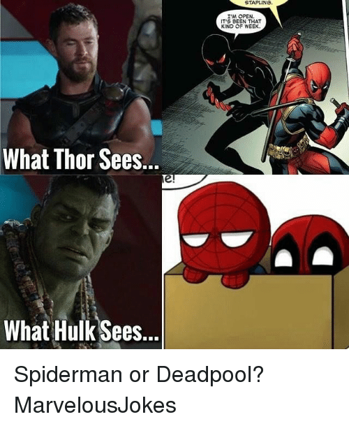 Memes, Deadpool, and Hulk: STAPLING.  I'M OPEN  IT'S BEEN THA  KIND OF WEEK  What Thor Sees...  What Hulk Sees... Spiderman or Deadpool? MarvelousJokes