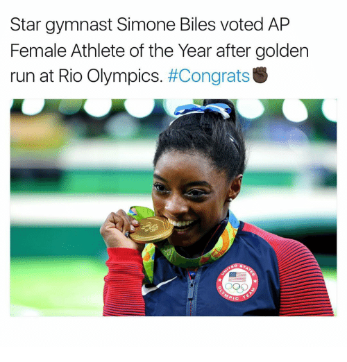 female athletes: Star gymnast Simone Biles voted AP  Female Athlete of the Year after golden  run at Rio Olympics  #Congrats  PIC