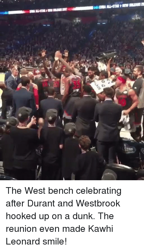 Dunk, Memes, and Kawhi Leonard: STAR The West bench celebrating after Durant and Westbrook hooked up on a dunk.  The reunion even made Kawhi Leonard smile!
