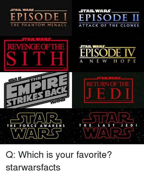 Menacingly: STAR WARS  EPISODE I  EPISODE II  THE PHAN TOM MENACE  ATTACK OF THE CLONES  WARS,  AR REVENGE OF THE  STAR WARS  EPISODE IV  A NE W H O P E  THE  RETURN OF THE  STRIKES BACK  STAR  L A S T  JE.D I  T. HE  THE FOR CE. A w A KEN S  MARS Q: Which is your favorite? starwarsfacts