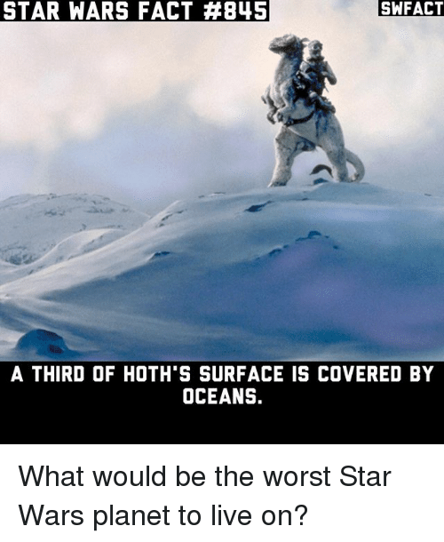 Hoth, Memes, and Star Wars: STAR WARS FACT 845  SWFACT  A THIRD OF HOTH S SURFACE IS COVERED BY  OCEANS. What would be the worst Star Wars planet to live on?