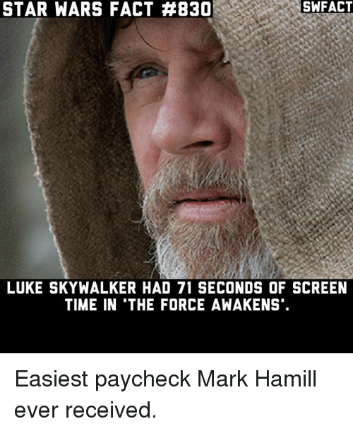 Luke Skywalker, Mark Hamill, and Memes: STAR WARS FACT #B30  SWFACT  LUKE SKYWALKER HAD 71 SECONDS OF SCREEN  TIME IN THE FORCE AWAKENS Easiest paycheck Mark Hamill ever received.