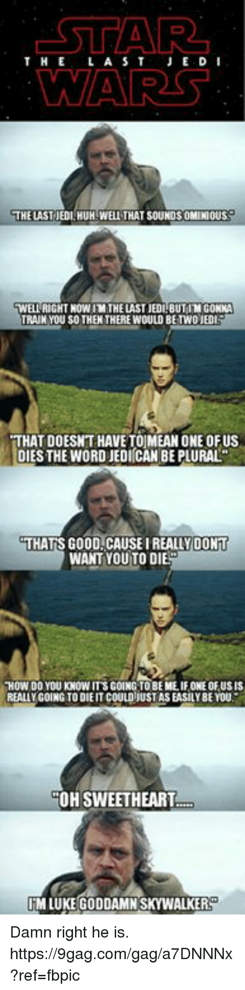 9gag, Dank, and Huh: STAR  WARS  THELAST JE D  THE LAST JEDI,HUH WELL THAT SOUNDS OMINIOUS  WELL RIGHT NOW IM THE LAST HUBUT IM GONNA  TRAIN YOU SOTHEN THERE WOULD BETWO JED  THAT DOESNT HAVE TOJMEAN ONE OFUS  DIES THE WORD JEDI CAN BE PLURAL  THATS GOOD CAUSEI REALLY DONT  WANT YOU TO DIE  0W DO YOU KNOW TS GOING TO BE ME. IF ONE OF.USIS  REALLY GOING TO DIE IT COULD JUST AS EASILY BE YOU  OH SWEETHEART  IM LUKE GODDAMN SKYWALKER Damn right he is. https://9gag.com/gag/a7DNNNx?ref=fbpic