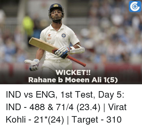 Star WICKET!! Rahane B Moeen Ali 105 IND vs ENG 1st Test ...
