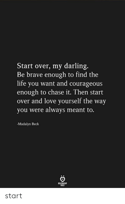 Be Brave: Start over, my darling.  Be brave enough to find the  life you want and courageous  enough to chase it. Then start  over and love yourself the way  you were always meant to.  -Madalyn Beck  RELATIONSHIP  RULES start