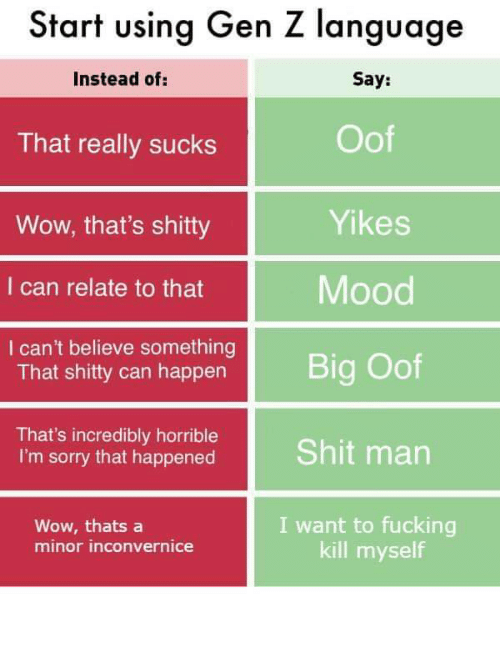 kill myself: Start using Gen Z language  Say:  Instead of:  Oof  That really sucks  Yikes  Wow, that's shitty  Mood  I can relate to that  I can't believe something  That shitty can happen  Big Oof  That's incredibly horrible  I'm sorry that happened  Shit man  I want to fucking  kill myself  Wow, thats a  minor inconvernice