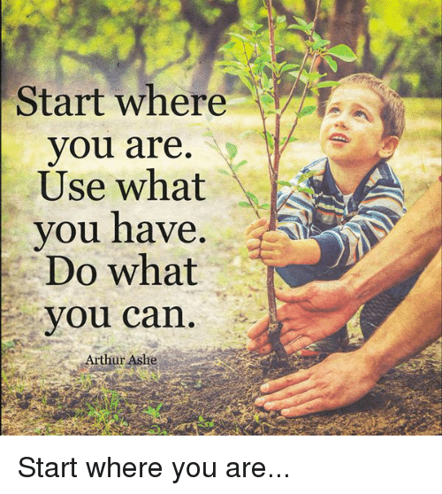Inspirational Day Quotes: Start Where You Are Use What AS You Have Do What You Can
