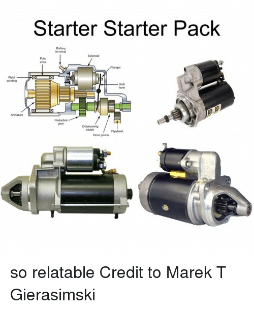 So Relateable: Starter Starter Pack  Solenoid  Pole  /Panger  Field  -Shift  Armature  gear  cktch  Flywheel  Drive pinion so relatable   Credit to Marek T Gierasimski