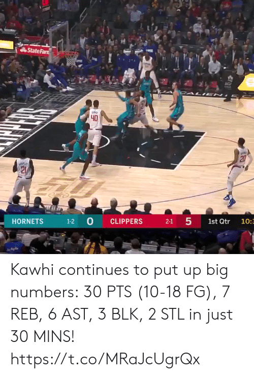 Clippers: State Farn  AG  CALI EN  40  20  21  1-2 0  5  CLIPPERS  HORNETS  2-1  1st Qtr  10:3  27 Kawhi continues to put up big numbers: 30 PTS (10-18 FG), 7 REB, 6 AST, 3 BLK, 2 STL in just 30 MINS!  https://t.co/MRaJcUgrQx