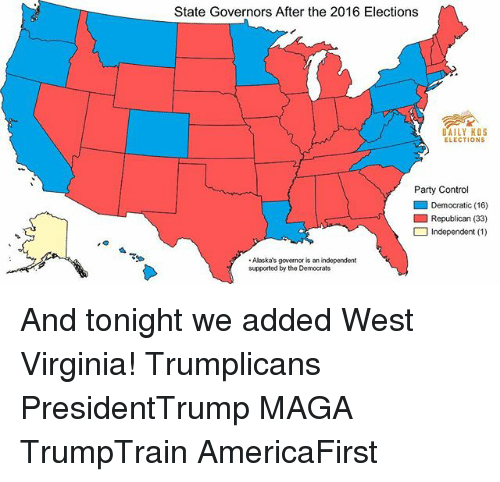 Memes, Party, and Control: State Governors After the 2016 Elections  DAILY KOS  ELECTIONS  Party Control  ■ Democratic (16)  □ Independent (1 )  Alaska's governor is an independent  supported by the Democrats And tonight we added West Virginia! Trumplicans PresidentTrump MAGA TrumpTrain AmericaFirst