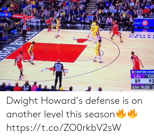 Howard: StateFarm  ВМО  UN  CE N  CENTER COUE  LAL  CH  89  93  4TH 9:20 Dwight Howard's defense is on another level this season🔥🔥 https://t.co/ZO0rkbV2sW