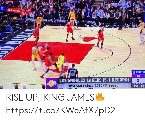 Los Angeles Lakers: StateFarm  OBULLAS  23  82  CENTER  LAL  LOS ANGELES LAKERS (5-1 RECORD)  2  LiKERS  Best start since 2010-11 season  1ST 11 RISE UP, KING JAMES🔥 https://t.co/KWeAfX7pD2