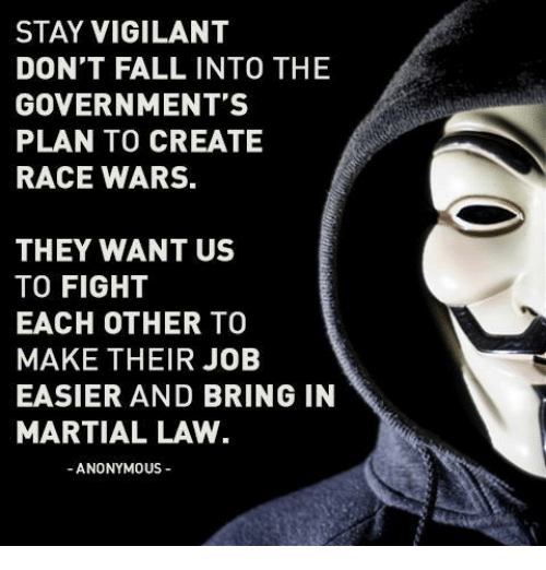 Race War: STAY VIGILANT  DON'T FALL INTO THE  GOVERNMENT'S  PLAN TO CREATE  RACE WARS.  THEY WANT US  TO FIGHT  EACH OTHER TO  MAKE THEIR JOB  EASIER AND BRING IN  MARTIAL LAW  ANONYMOUS