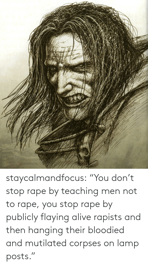 "hanging: staycalmandfocus:  ""You don't stop rape by teaching men not to rape, you stop rape by publicly flaying alive rapists and then hanging their bloodied and mutilated corpses on lamp posts."""