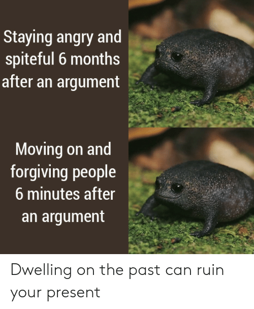 moving on: Staying angry and  spiteful 6 months  after an argument  Moving on and  forgiving people  6 minutes after  an argument Dwelling on the past can ruin your present