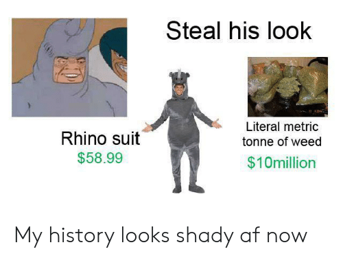 Steal His Look: Steal his look  Literal metric  Rhino suit  tonne of weed  $58.99  $10million My history looks shady af now